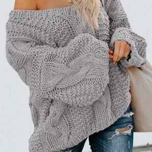 Sweaters - COMING SOON Bubblegum V-Neck Braided Knit Sweater